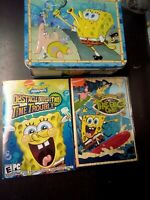 Embossed Metal SpongeBob SquarePants School Lunchbox + Bonus DVD/Game FREE SH