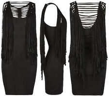 ALL SAINTS 'Liya' black fringed tassel jersey mini dress UK 10 US 6