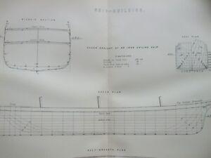 ANTIQUE PRINT C1870'S SHIP BUILDING ENGRAVING DRAUGHT OF AN IRON SAILING SHIP