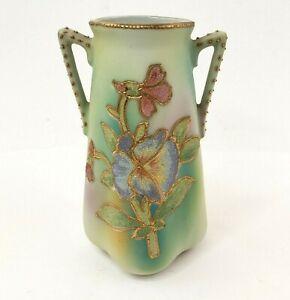 "Nippon Coralene Two Handle Japanese Porcelain Vase 4-3/4"""