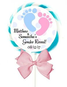 """PINK/BLUE GENDER REVEAL PARTY LOLLIPOP ROUND STICKERS FAVORS 1.5"""", 2"""", 2.5"""""""