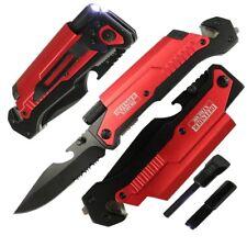 RT017576-BLue Rtek 9 Tactical Spring Assisted Rescue Pocket Knife LED Light Fire