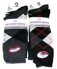 6 Paia Da Uomo Antonio Rossi Argyle Calzini Di Cotone Rich Diamante-Nero, Blu scuro, grigio