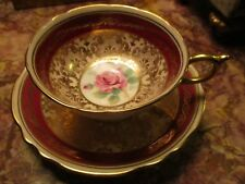 Paragon Double Mark Heavy Gold and RED with Double Red Roses Cup and Saucer