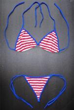 Sexy Red White & Blue G-STRING BIKINI Swimming Costume Beach Wear Thong Swimsuit