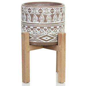 Aztec Tribal Cement Plant Flower Herb Planter Cactus Indoor Pot On Wood Stand