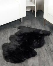 Faux Fur Sheepskin Area Rug Flokati Shaggy Rug 2 x 3 Sheep Shape Black