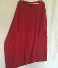 St John Couture Dress Sz Small Asymetrical Lagenlook Red Knit Comfort fall 2012