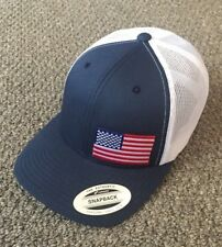 US Flag Hat SnapBack America Trucker Mesh Cap Handcrafted in the USA! Navy/White