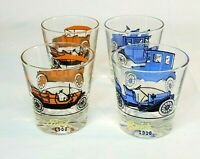Vintage Hazel Atlas Antique Car Drinking Glasses 4 Piece Set Ford Buick Retro