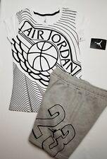 Nike Air Jordan Girls 2 PC Set Shirt Tee & Fleece Shorts Outfit Size Med.