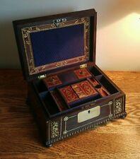 EXQUISITE WILLIAM IV LADIES TABLE CASKET WITH DECORATIVE BRASS INLAY c1830