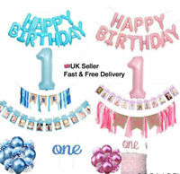 1st First Year Birthday Decorations Set 12M Baby Photo, ONE Banner, Cake Topper
