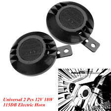 2 Pcs Car SUV Universal 12V 18W Electric Air Horns 115DB Loud Air Horn Kit Black