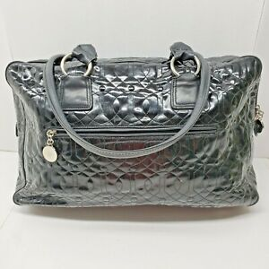 Donald J Pliner XLarge Satchel Quilted Patent Leather Black Purse Carry All Bag