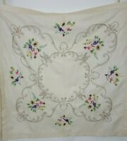 Vintage Square Linen Embroidered Tablecloth Beige Poppies Roses 40 x 40""