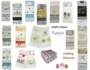 3 Pack 100% Cotton Tea Towels, Decorative Kitchen Cloths COOKSMART Christmas New