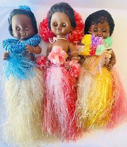 3 POLYNESIAN Islander Sleep Eyes Curly Hair Grass Skirt Black Hair Doll Vintage