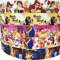 "Grosgrain Ribbon 7/8"" & 1"" 5 Yard mixed lot Beauty & The Beast Princess Printed"