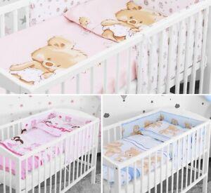 LOVELY BABY BEDDING SET 2 3 5 6 PCS BUMPER PILLOW DUVET FIT COTBED 140x70 NEW!