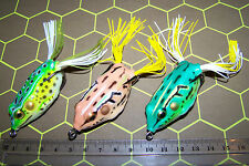 FROG FISHING LURES SOFT PLASTIC x3, Great colours Topwater. Bass, Trout, Cod. #2