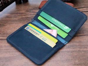 men women wallet purse cow Leather Bifold credit card Holder handmade blue z904