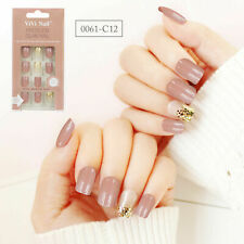 24Pcs False Nail Tips Fashion Acrylic Fake Press On Long Oval Full Cover Nails