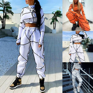 Womens Ladies Two Piece Tracksuit Patchwork T-Shirt Crop Tops+Pants Sets Outfits