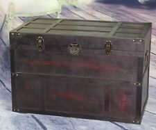 New Vintiquewise Antique Style Wooden Steamer Trunk