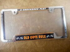 """Old Guys Rule """"A Checked Past""""  Metal License Plate Frame Holder"""