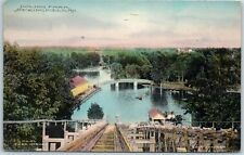 "1913 Springfield, MO Postcard ""DOLING PARK"" View from Top of Chute, Hand-Colored"