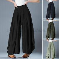 Women Elastic Waist Wide Legs Harem Pants Casual Loose Solid Long Trousers Plus