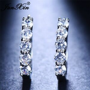 925 Sterling Silver Filled Simulated Diamond Round Hoop Pair Earrings 5 Stone