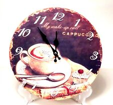 """Vintage Style Wall Clock """" Wake Me Up"""" Cappuccino Design"""