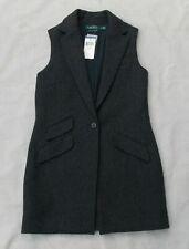 Lauren Ralph Lauren Long Wool Blend Equestrian Vest Siz XS NWT Herringbone Tweed