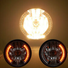 PHARE AVANT CHROME H4 35W + CLIGNO A LED 18cm HARLEY CHOPPER SCRAMBLER TRIUMPH