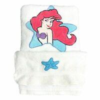 Vintage Disney Little Mermaid Bath Set Towel Washcloth Ariel Sea Star 90s Girl