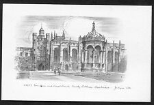 C1960's Illustration of the Fountain & Great Court, Trinity College, Cambridge