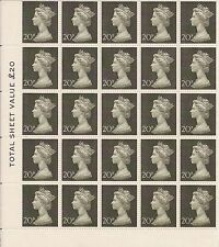 RARE 1970 GB FIRST DECIMAL STAMPS 20P SG:830 OLIVE GREEN PANE OF 25 - VERY FINE