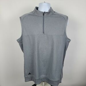 Adidas Gray 1/4 Zip Mens Pull Over Sweater Vest Size Large L