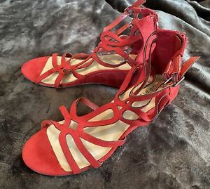 Womens Torrid Red Strappy Wedge Heel Dress Shoes 9.5W