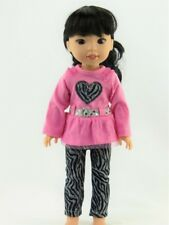 "Pink Zebra Heart Pants Set For 14.5"" Wellie Wishers American Girl Doll Clothes"