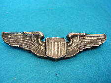 WOW! ww2 insignia pin  PILOT WINGS STERLING 3 in.A.E.Co Utica USAAF Heavy Org.