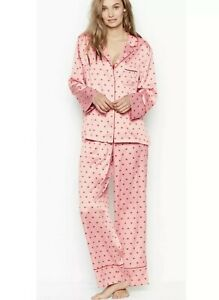 NEW Victoria Secret Satin Pj Pajama Set 2 Piece Heart Print Luxe Pajamas Size XL