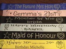 Personalised Celebration Luxury Sash * 19th 20th 21st *