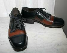 70s Black Brown Forest Green Leather Spectator Shoes Mens US 10.5 Dexter NWOB