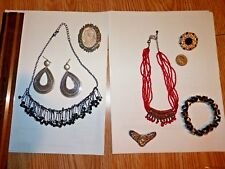 Steampunk / vintage lot fashion jewelry 2 necklaces, 3 pins/brooches, earrings +