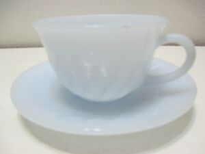 Vintage Fire King Glass Cup & Saucer Plate Swirl Azur-ite Blue