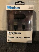 Just Wireless - Car Charger USB Type-C 2.4 Amp - 6ft. - Black
