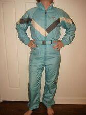 Vtg 80s 90s DESCENTE Blue Womens SMALL One piece Snow SKI Suit BIB Coat Snowsuit